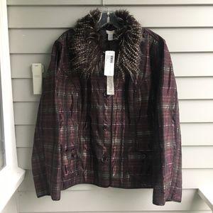 CHICO'S Preppy Plaid/Gray Rhonda Reversible Jacket